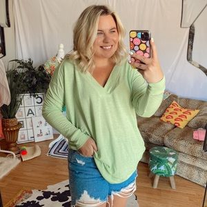 NWT free people green oversized v neck top